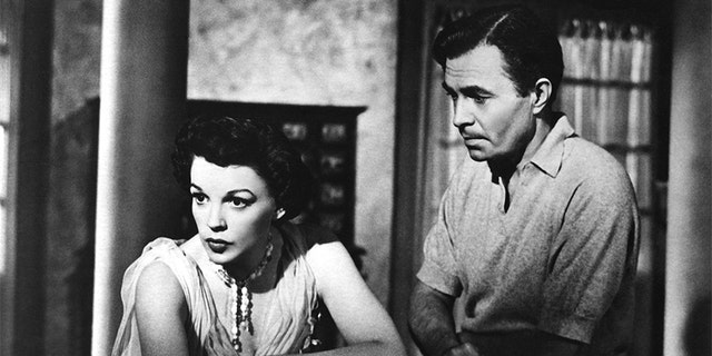 "Actress Judy Garland and James Mason in a scene from the movie ""A Star Is Born."""