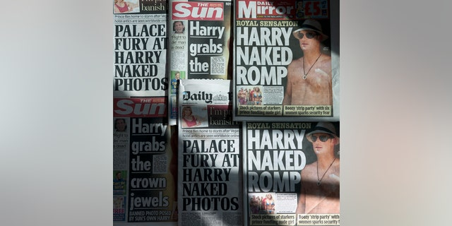 """An arrangement of British daily newspapers photographed in London on August 23, 2012 shows the front-page headlines and stories regarding nude pictures of Britain's Prince Harry. The British royal family on August 23 warned the country's newspapers not to publish nude photographs of Prince Harry cavorting with friends on holiday in Las Vegas. Newspapers on Thursday adhered to the palace's request with The Mirror having """"Harry naked romp"""" splashed across its front page while the Daily Mail ran with """"Palace fury at Harry naked photos"""" as its main headline."""