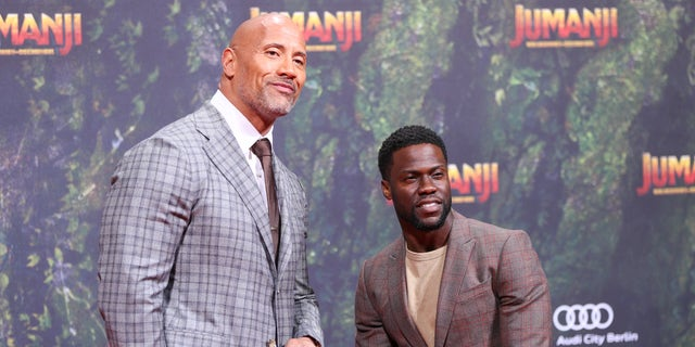 "Dwayne ""The Rock"" Johnson playfully poked fun at his ""Jumanji"" co-star Kevin Hart over his Oscars hosting controversy."