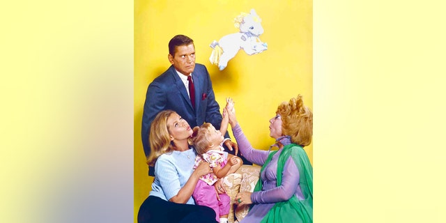 'Bewitched' cast from left: Dick York (Darrin), Elizabeth Montgomery (Samantha), Erin Murphy (Tabitha) and Agnes Moorehead (Endora).