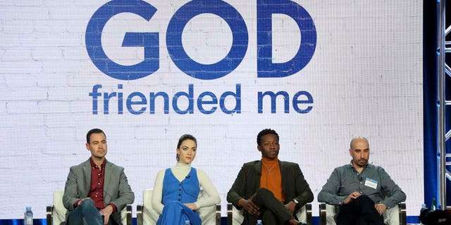 """Steven Lilien, from left, Violett Beane, Brandon Micheal Hall and Bryan Wynbrandt participate in the """"God Friended Me"""" show panel during the CBS presentation at the Television Critics Association Winter Press Tour at The Langham Huntington on Wednesday, Jan. 30, 2019, in Pasadena, Calif. (Photo by Willy Sanjuan/Invision/AP)"""
