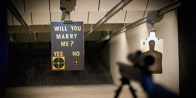 Jake Woodruff and Kara Crampton got engaged while at a shooting range in New Jersey.