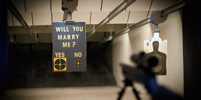 Jake Woodruff and Kara Crampton got engaged while at a shooting range in New Jersey.