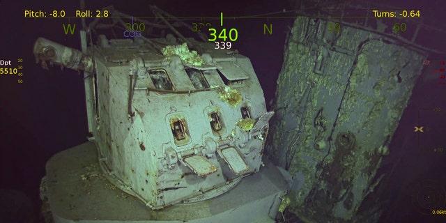5-inch gun director on USS Hornet's deck. (Navigea Ltd, R/V Petrel, Paul G. Allen's Vulcan Inc)