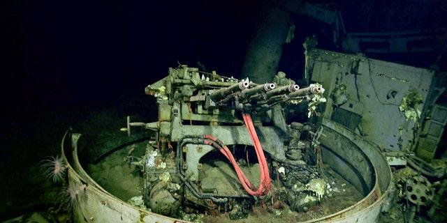 1.1inch anti-aircraft guns on USS Hornet. (Navigea Ltd, R/V Petrel, Paul G. Allen's Vulcan Inc)