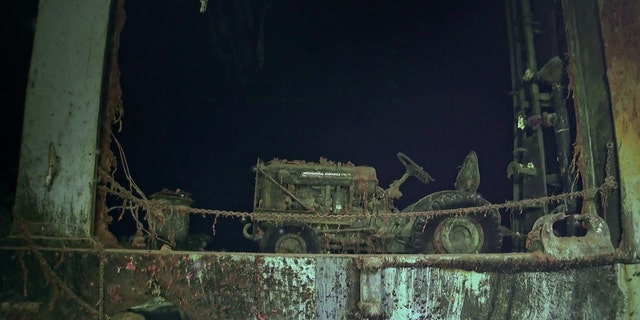 International Harvester tractor photographed on the USS Hornet wreck. (Navigea Ltd, R/V Petrel, Paul G. Allen's Vulcan Inc)