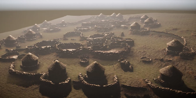 The remains of the lost city were located using sophisticated laser technology. This digital reconstruction shows what Kweneng looked like. (Stephen Banhegyi)