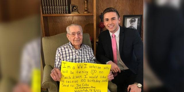 Joe Cuba, a World War II veteran, turns 100 on Saturday. (Derek Lowe News)