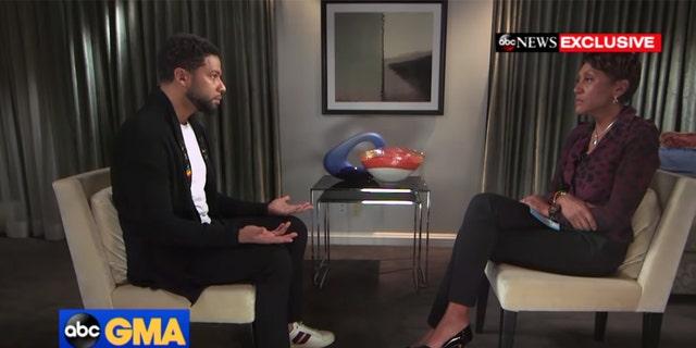 """Empire"" actor Jussie Smollett, left, speaks to Robin Roberts on ""GMA."""