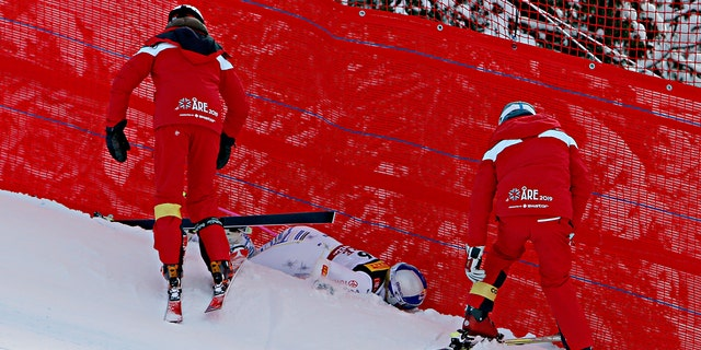 Lindsey Vonn of USA crashes out during the FIS World Ski Championships Women's Super G on February 5, 2019 in Are Sweden.