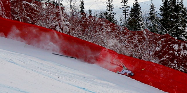 Lindsey Vonn crashes out during the FIS World Ski Championships Women's Super G on February 5, 2019 in Are Sweden.