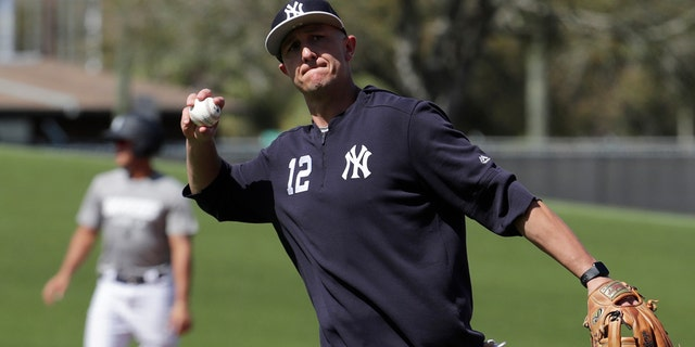New York Yankees shortstop Troy Tulowitzki does drills at the Yankees spring training baseball facility, Thursday, Feb. 21, 2019, in Tampa, Fla.