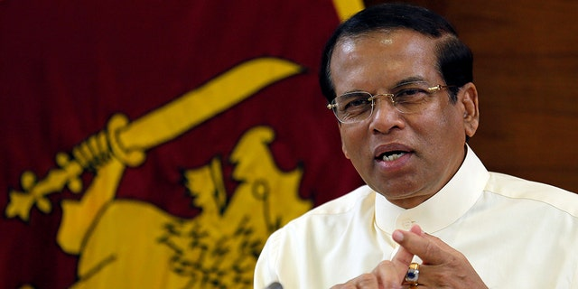 Sri Lanka's President Maithripala Sirisena speaks during a meeting with Foreign Correspondents Association at his residence in Colombo, Sri Lanka, in November 2018.