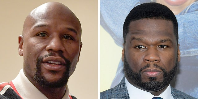 Floyd Mayweather, left, was slammed by 50 Cent on Wednesday over his stance on the Gucci boycott.