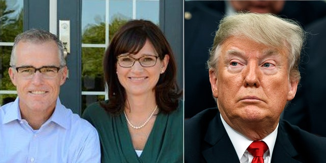 """President Donald Trump mocked Andrew McCabe's wife, Jill (both left), as a """"loser"""" during a conversation between the two, the ex-FBI deputy director claims in a new book."""