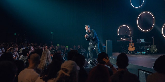Pastor Erwin McManus speaks at a Sunday service at Mosaic church at their location on the corner of Hollywood Boulevard and La Brea.