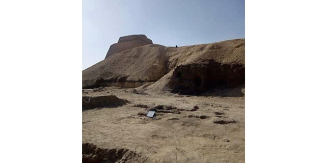 Archaeologists have been excavating near the Meidum Pyramid south of Cairo. (Egyptian Ministry of Antiquities)