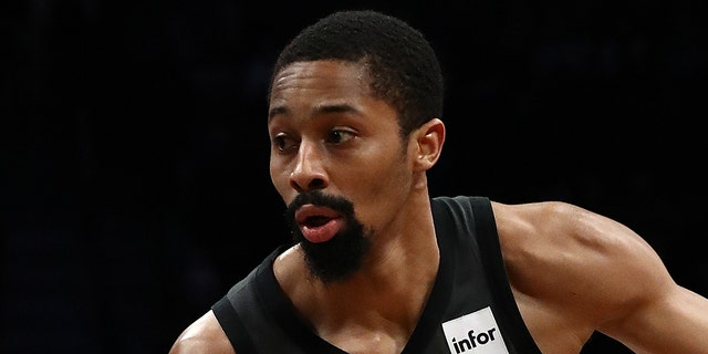 Spencer Dinwiddie #8 of the Brooklyn Nets drives against the Orlando Magic during their game at the Barclays Center on January 23, 2019 in New York City.