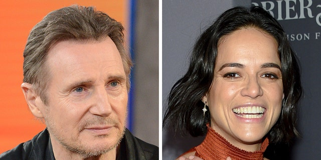 Michelle Rodriguez defended Liam Neeson on Wednesday, reportedly claiming he can't be racist because he made out with Viola Davis.