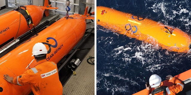 A closer view of some of the Autonomous Underwater Vehicles (UAVs) used in the search.