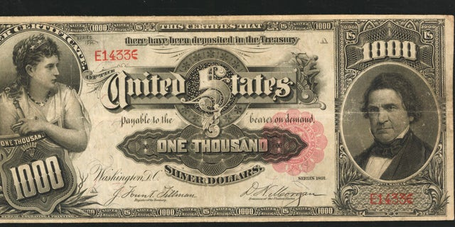 "1891 ""Marcy"" $1,000 note is set for auction this month."