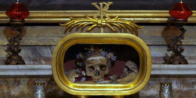 Relic of St. Valentine in the church of Santa Maria in Cosmedin, Rome.