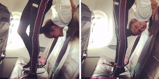 In the much buzzed-about clip, which has since been viewed over 238,000 times on PassengerShaming's account, Millinger stands on the airplane seat in an extreme backbend, before lowering her head to rest on the seat itself.