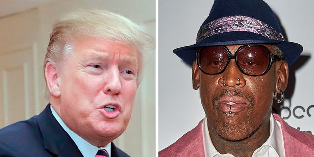 Dennis Rodman and President Trump. (AP/Getty)