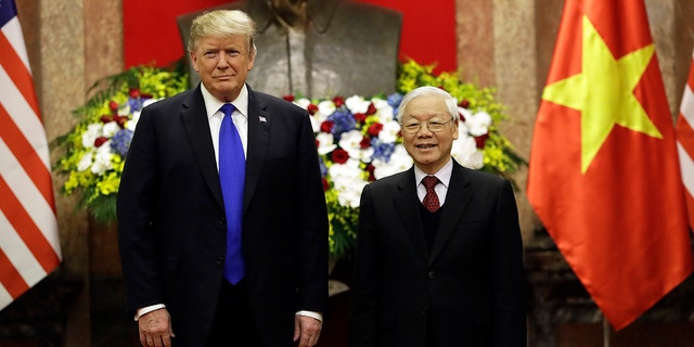 President Trump meets Vietnamese President Nguyen Phu Trong at the Presidential Palace, Wednesday, Feb. 27, 2019, in Hanoi. (Associated Press)
