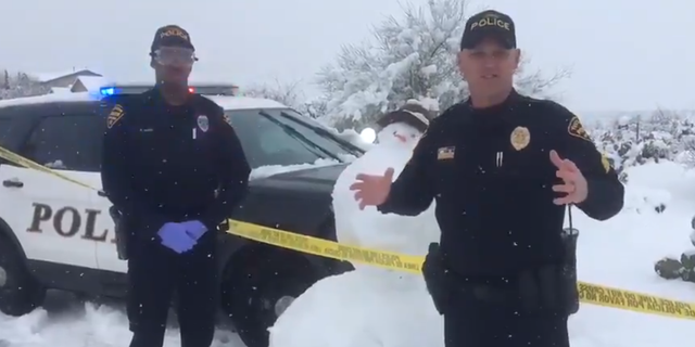 """Police officers in Tucson, Arizona, jokingly investigated a """"white powdery substance"""" in their city."""
