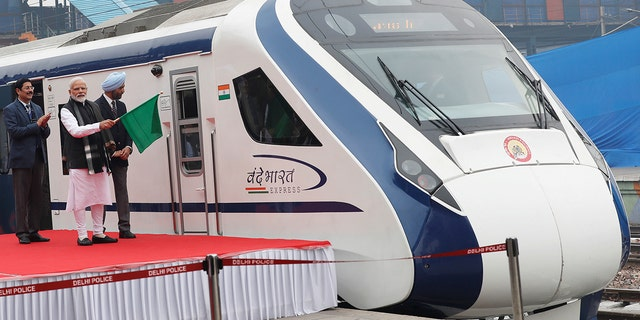 India's Prime Minister Narendra Modi flags off India's fastest train 'Vande Bharat Express' at a ceremony in New Delhi, India, February 15, 2019.