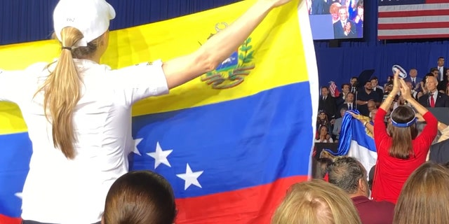 Venezuelans show support for their country at President Trumps' speech
