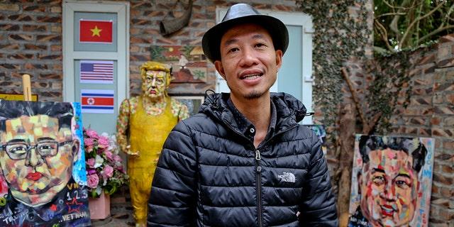Artist Tran Lam Binhis seenwith some of his creations in Hanoi, Vietnam, Feb. 25, 2019. (Associated Press)