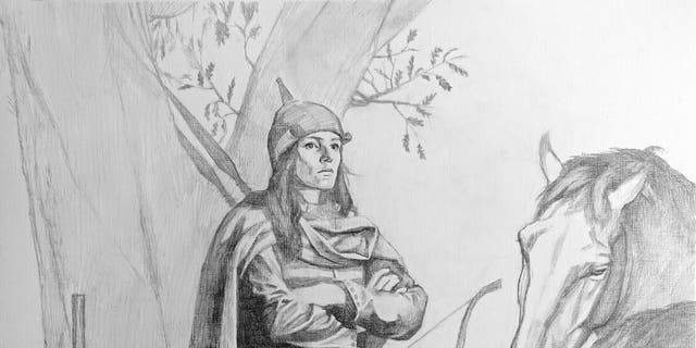 Artist's impression of the occupant of grave Bj.581 as a high-status female warrior.