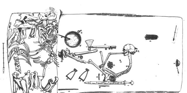 Plan of grave Bj. 581 by Harald Olsson