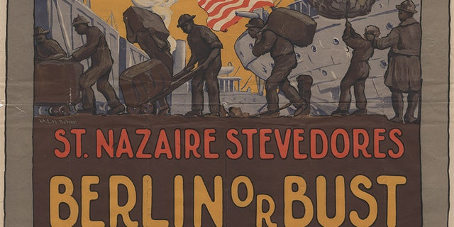 A poster promoting the work of stevedores, who helped transport and unload American cargo overseas to France during World War I. This role was one of many that African Americans filled during The Great War -- and an essential one that helped lead the allies to victory.