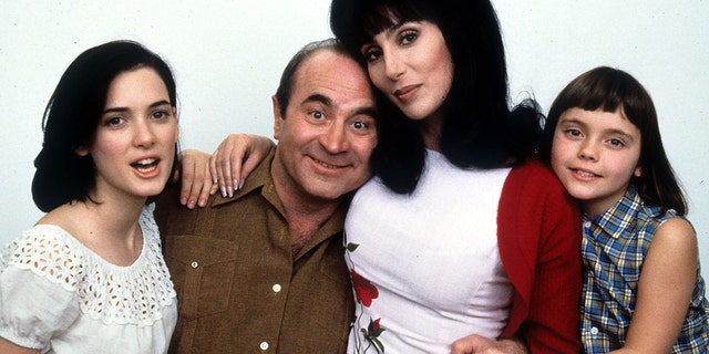 Winona Ryder, Bob Hoskins, Cher, and Christina Ricci in publicity portrait for the film 'Mermaids', 1990.