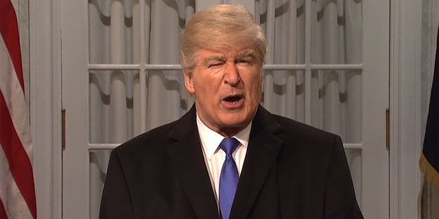 "Alec Baldwin as Donald Trump on ""Saturday Night Live."" Trump has suggested liberal media portrayals of him constitute defamation and contain falsehoods."