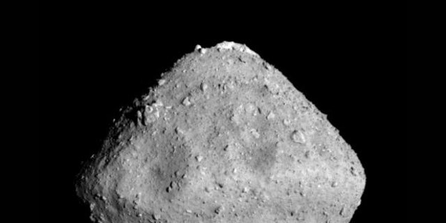 The 3,000-foot-wide (900 meters) carbon-rich asteroid Ryugu, photographed by Japan's Hayabusa2 probe in June 2018.