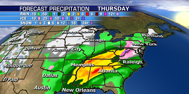 The forecast precipitation through Thursday from the winter storm.