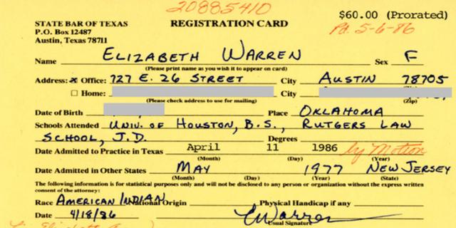 Elizabeth Warren's 1986 bar card. (State Bar of Texas)