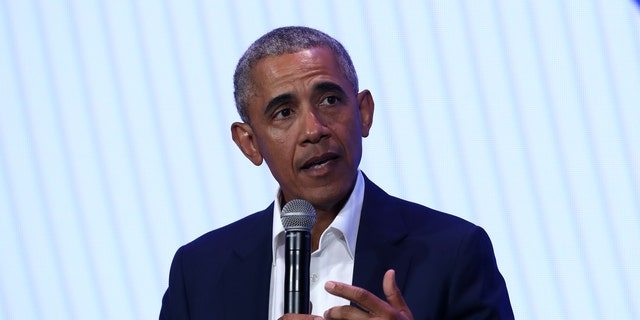 Former President Barack Obama speaks during the MBK Rising! My Brother's Keeper Alliance Summit Tuesday in Oakland, California.
