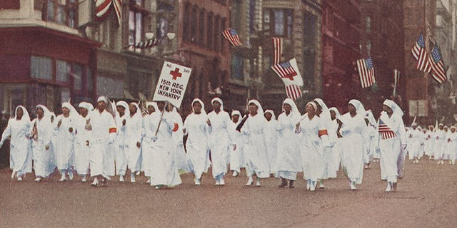 Red Cross nurses -- one of the roles African American women filled -- marching in New York City during World War I.