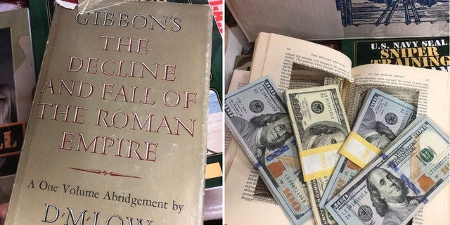 "VNSA volunteer, Cathy McAllister, found $4,000 in a hollowed out copy of ""The Rise and Fall of the Roman Empire."""
