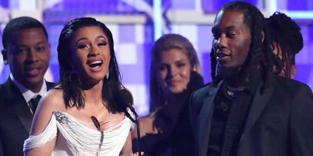 """Cardi B Accepts the Best Album of the"""" Invasion of Privacy """"61st Grammy Awards, February 10, 2019, Los (Photo by Matt Sayles / Invision / AP)"""