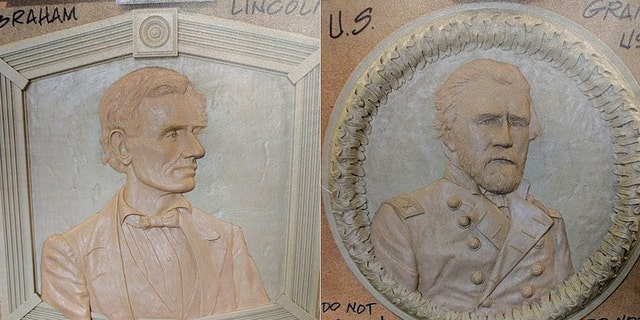 A proposed Civil War memorial in a small Maryland town may include a sculpted portrait of Abraham Lincoln (left), Ulysses S. Grant (right) and other historic figures. Most problematic is the idea to include Lincoln's assassin, John Wilkes Booth
