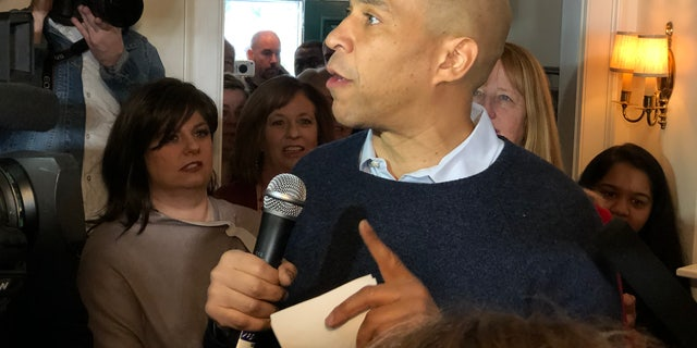 Sen. Cory Booker speaks at a house party in Nashua, NH. The Senator from New Jersey condemned Trump's national emergency declaration. (ROB DIRIENZO / FOX NEWS)