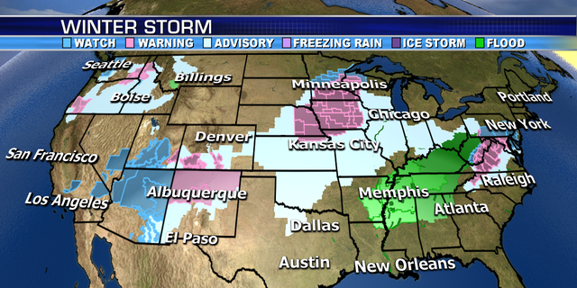 Winter storm warnings and advisories stretch from the Midwest to the Mid Atlantic and Northeast.