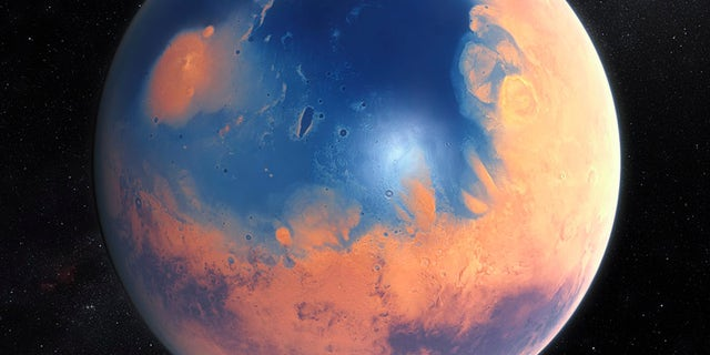 An artist's impression of Mars when it had surface water, a few billion years ago.