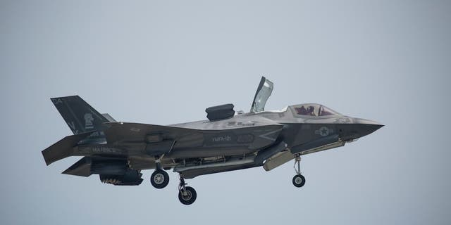 """An F-35 fighter jet is seen in this undated photo. The Pentagon announced it """"suspended"""" deliveries ofF-35 fighter jet parts and manuals to Turkey over the Middle Eastern country's decision to purchase a Russian air defense system over Washington's objection.(U.S. Marine Corps Photo by Cpl. Deseree Kamm, File)"""